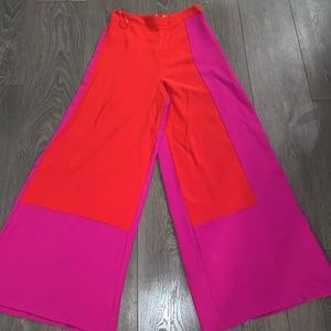 Pink and red color block palazzo pants